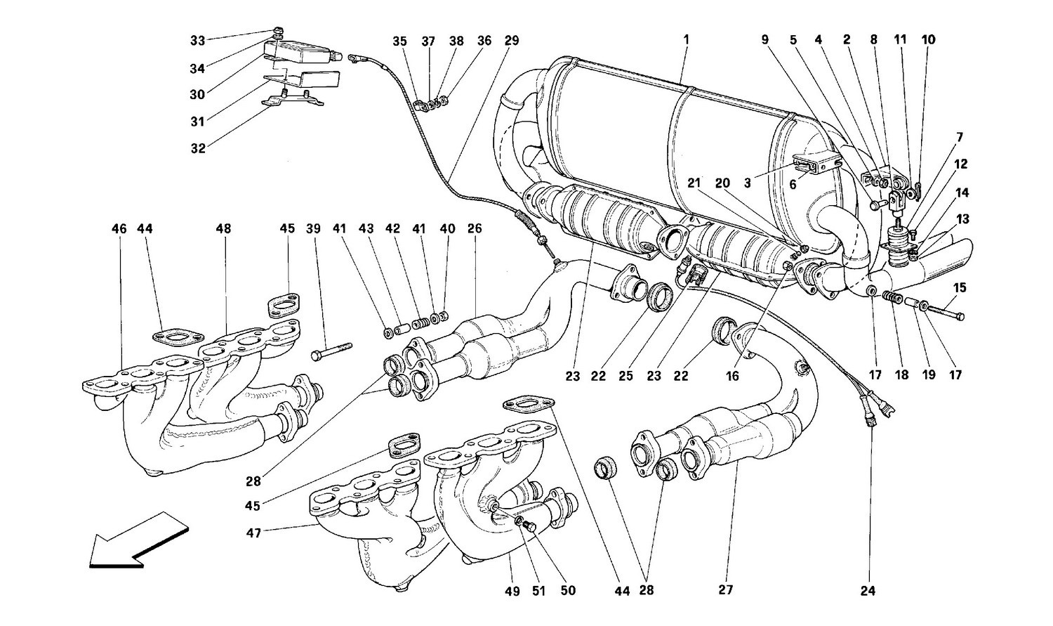 Exhaust system -Valid for USA, CDN, AUS, CH-