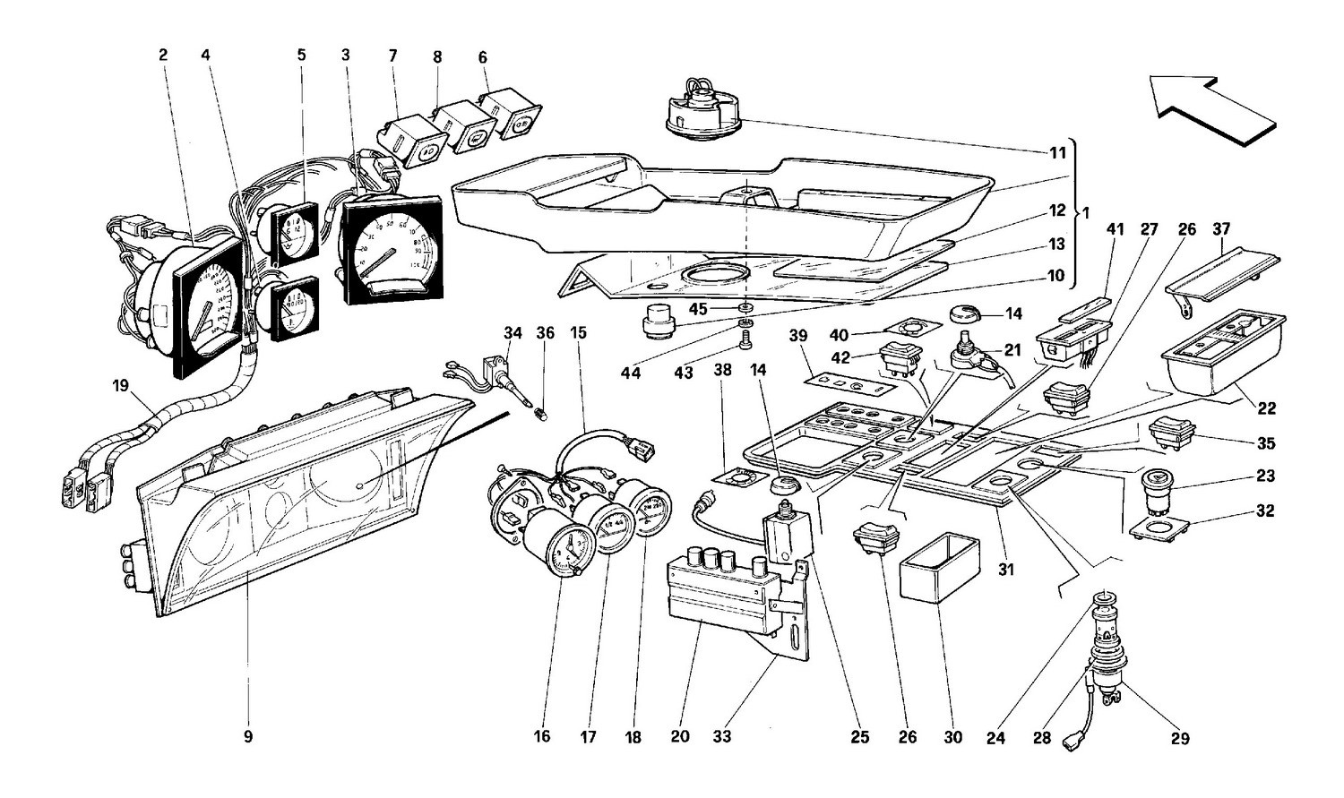 Instruments and passenger compartment accessories