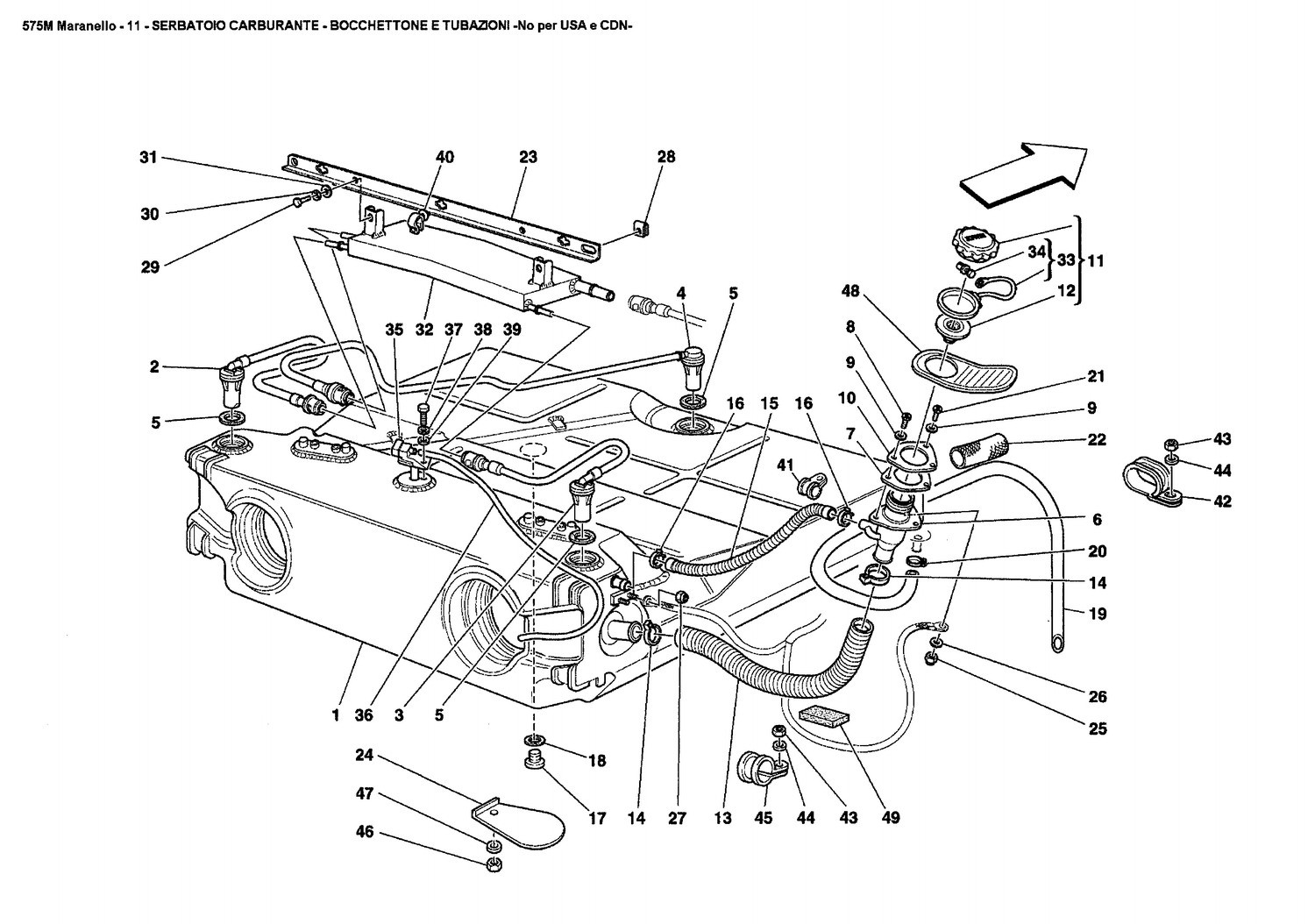FUEL TANK - UNION AND PIPING -Not for USA and CDN-