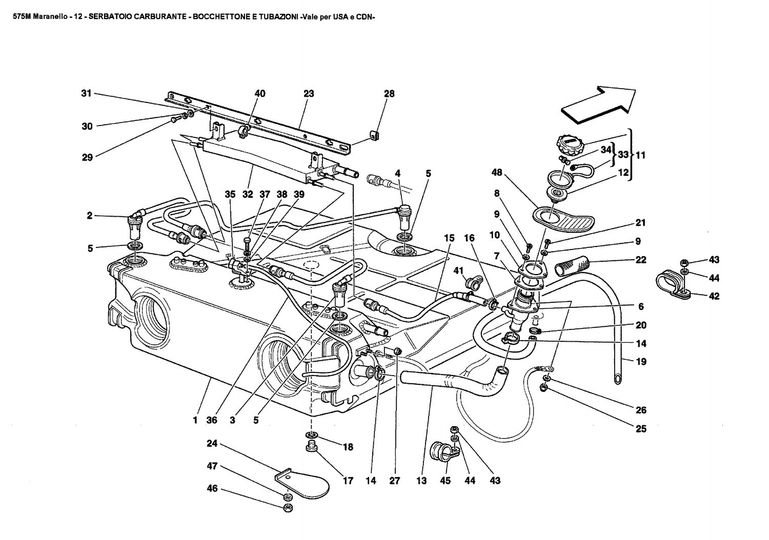 FUEL TANK - UNION AND PIPING -Valid for USA and CDN-