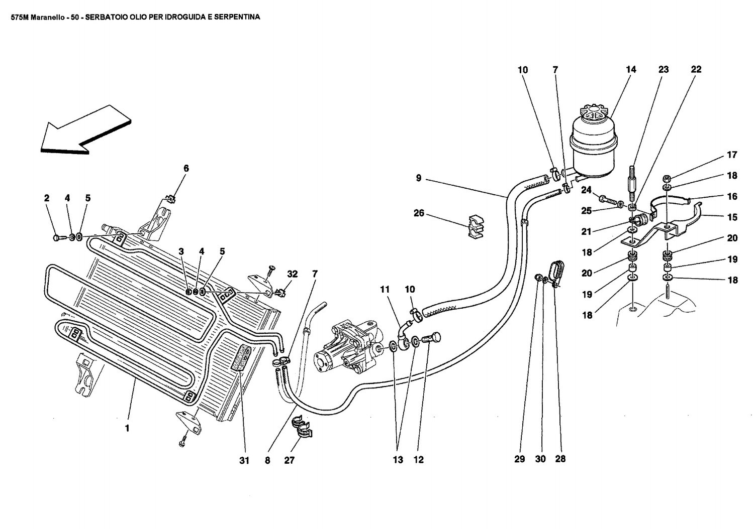 OIL TANK FOR SERVOSTEERING AND SERPENTINE