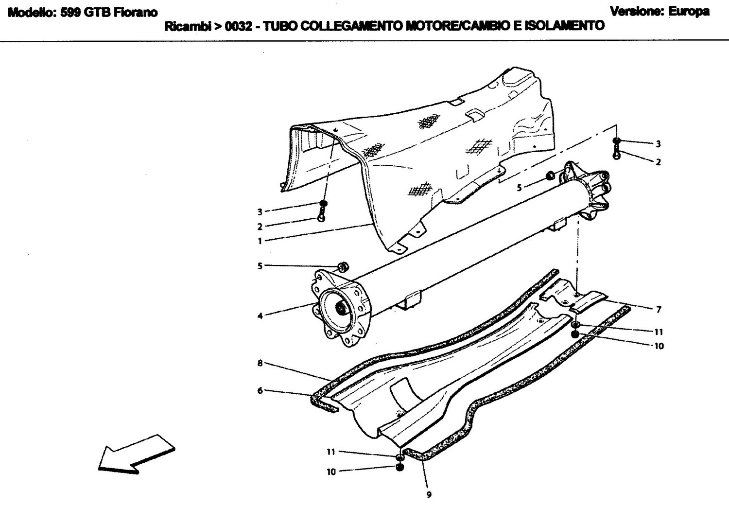 ENGINE/GEARBOX CONNECTING TUBE AND INSULATION