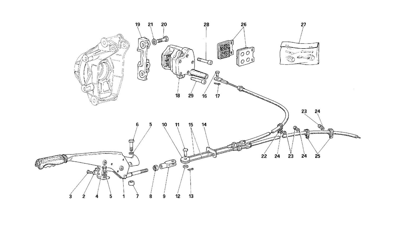 Hand-brake control and caliper