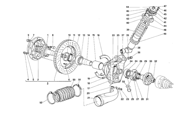 Rear suspension - Shock absorber and brake disc
