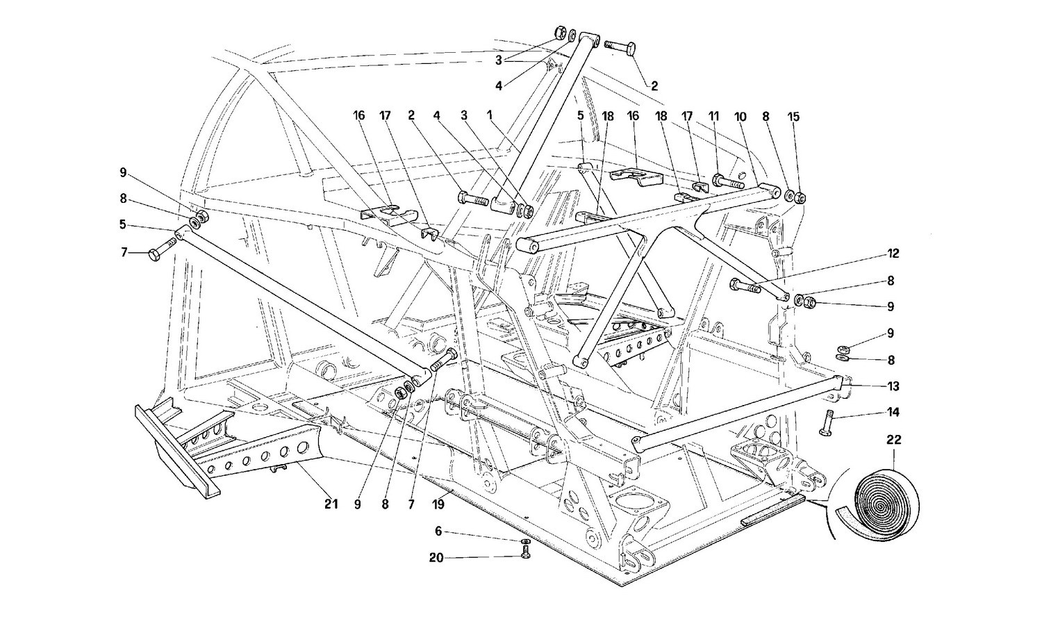 Frame - Rear part -Not for cars with catalyst-