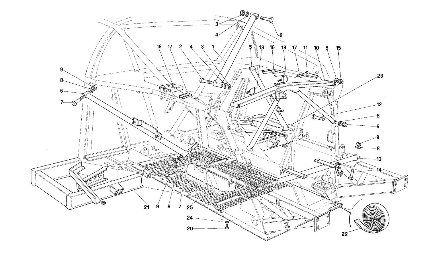 Frame - Rear part -Valid for cars with catalyst-
