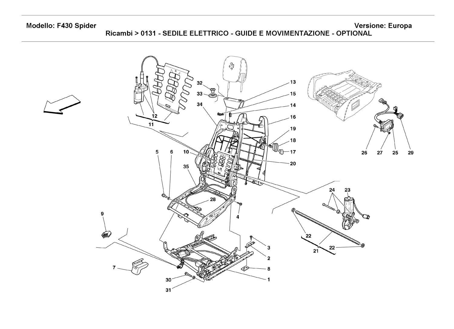 ELECTRICAL SEAT - GUIDE AND MOVEMENT - OPTIONAL