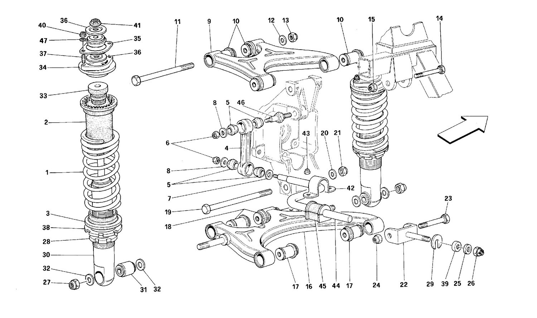 Rear suspension - Wishbones and shock absorber