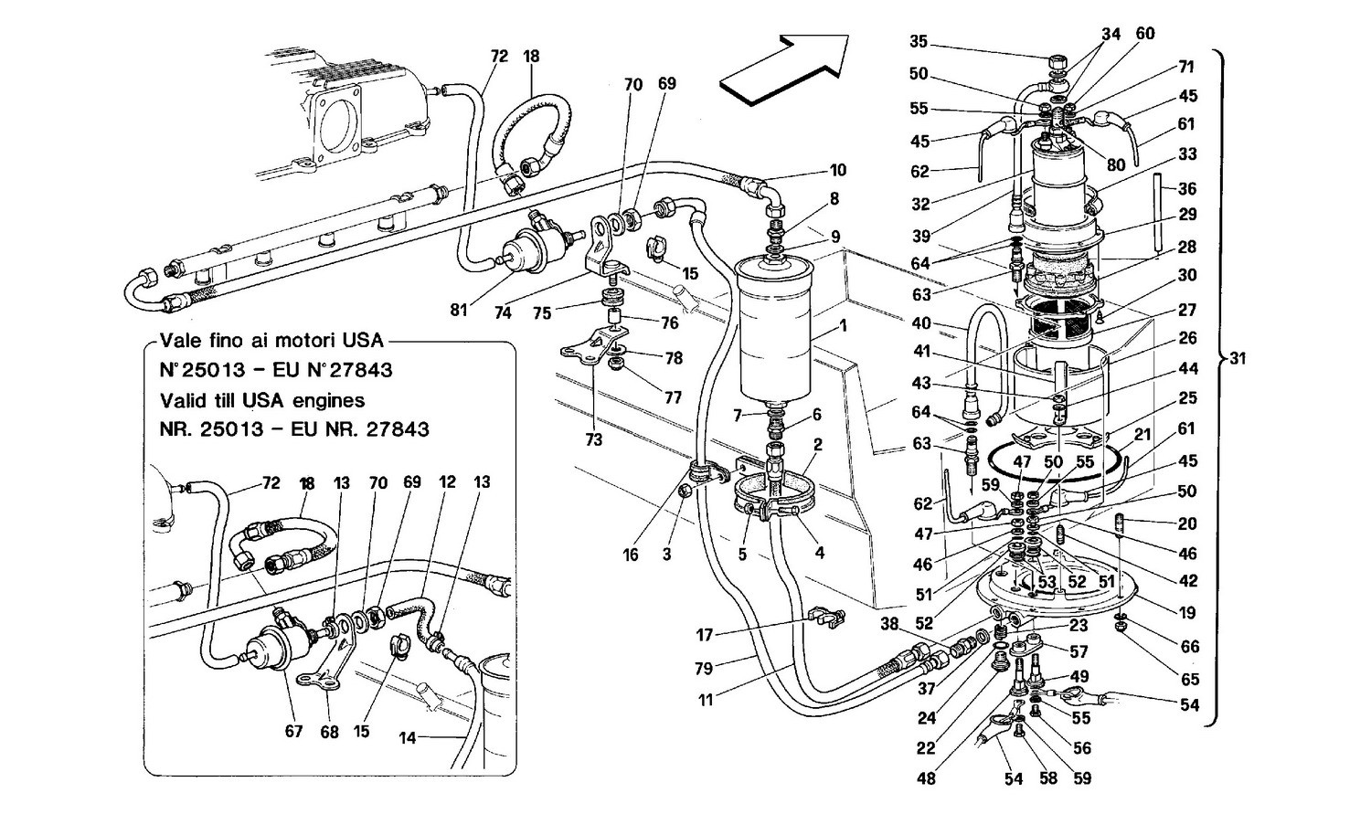 Fuel pump and pipes