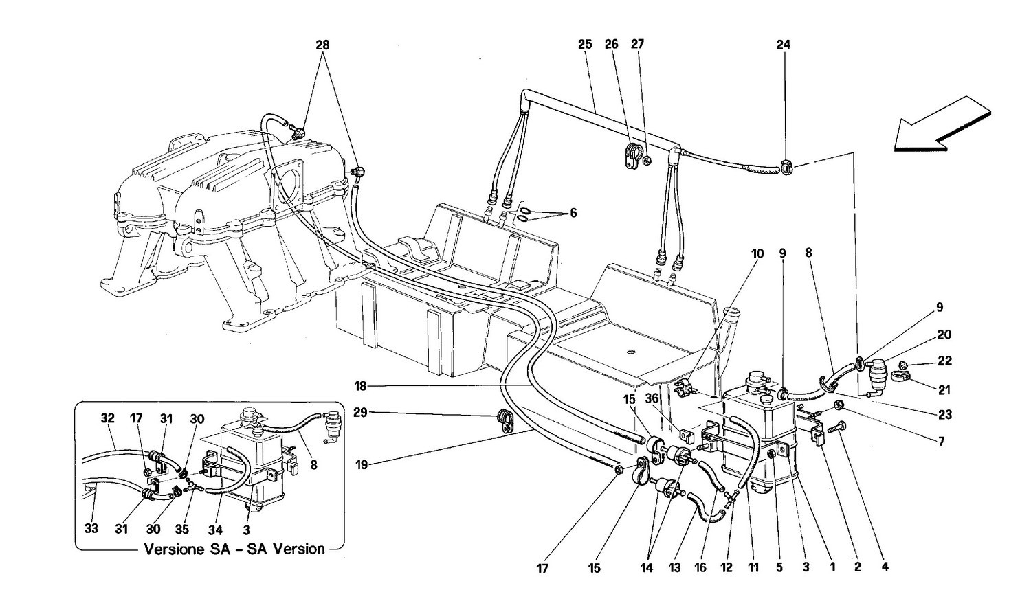 Antievaporation device - Coupé and Cabriolet - Fors cars with catalyst and SA-