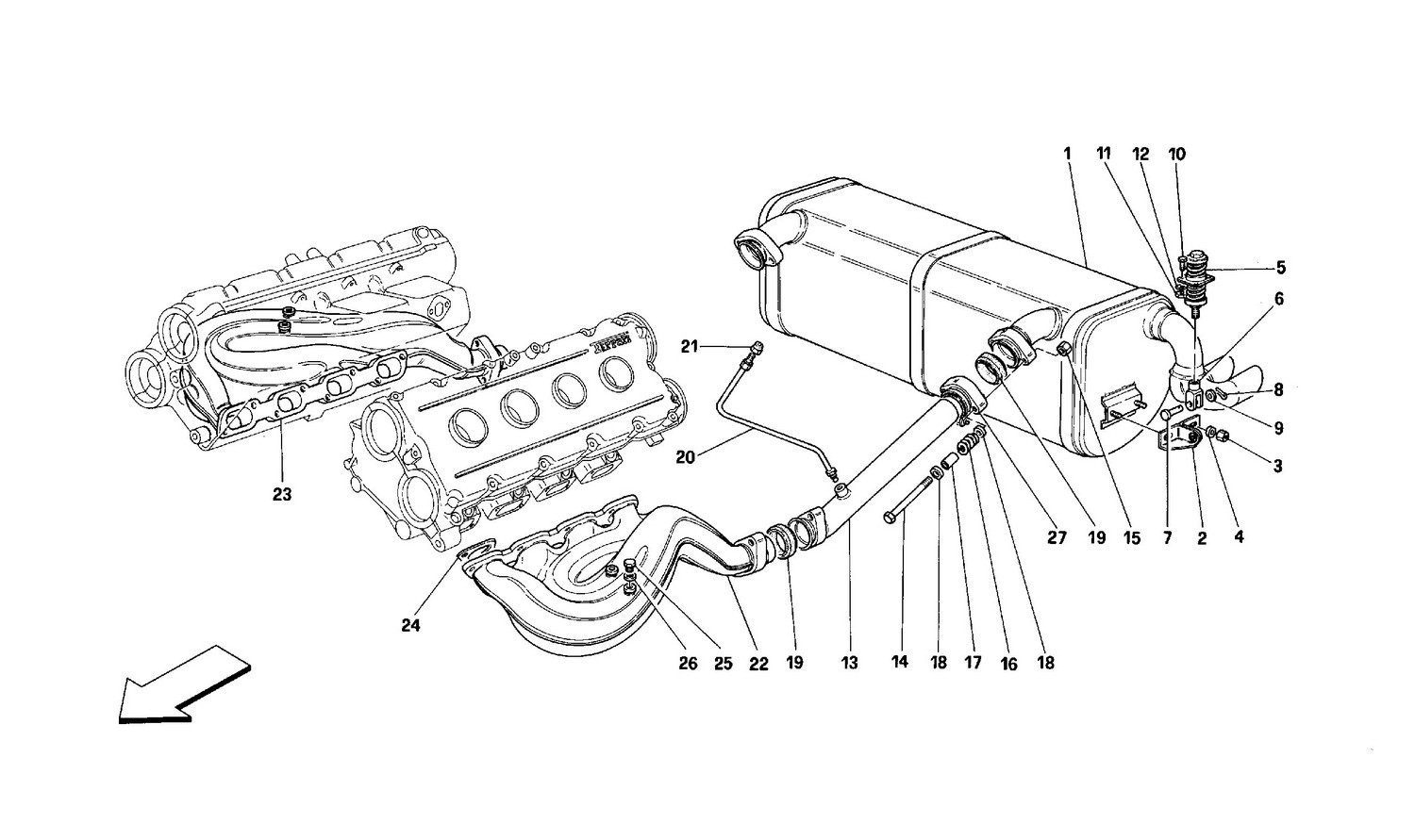 Exhaust system -Not for cars with catalysts and 77DB-