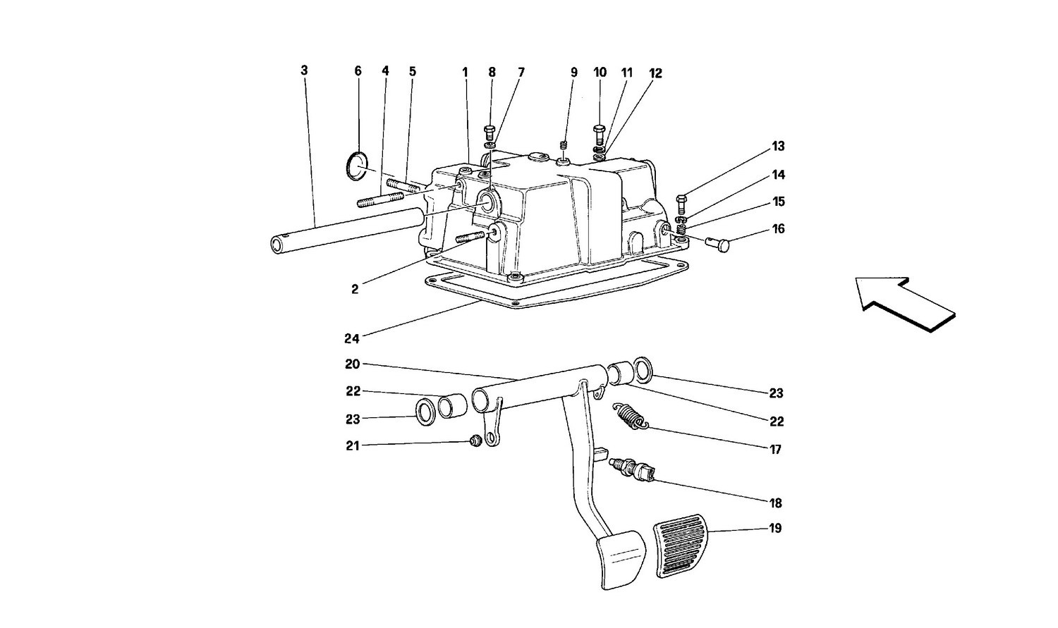 Pedals case and support -Valid for cars with F.E.-