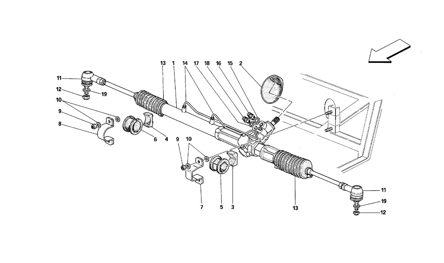 Hydraulic steering box and linkage