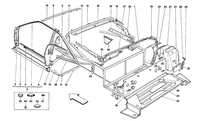 Body shell: inner elements - Rear part -Coupé-