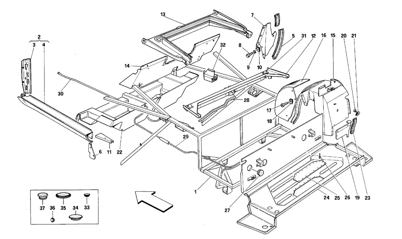 Body shell: inner elements - Rear part -Cabriolet-