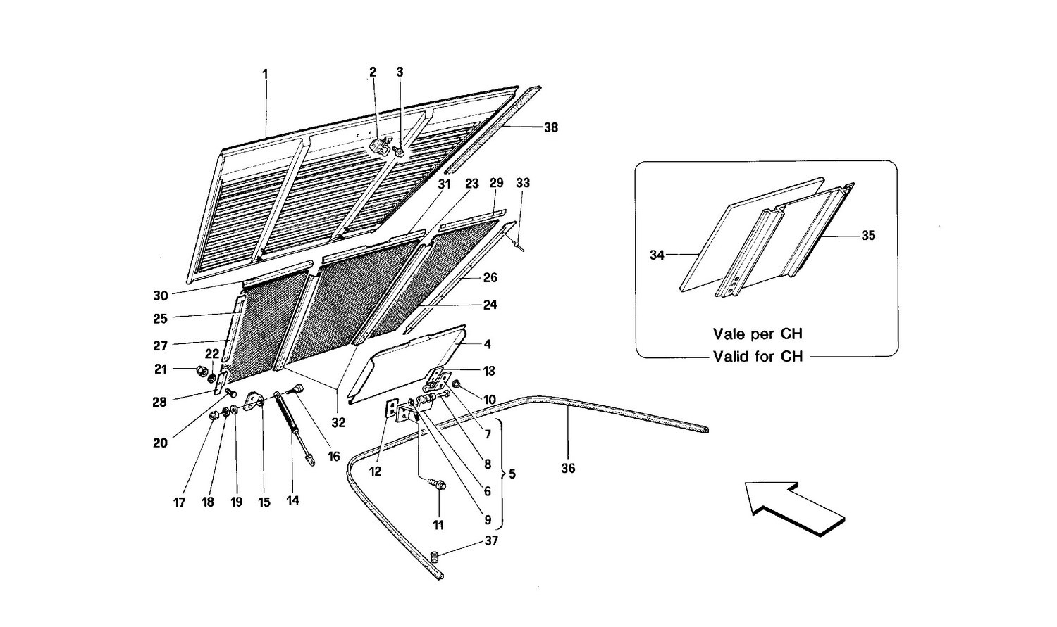 Engine compartment lid -Cabriolet-