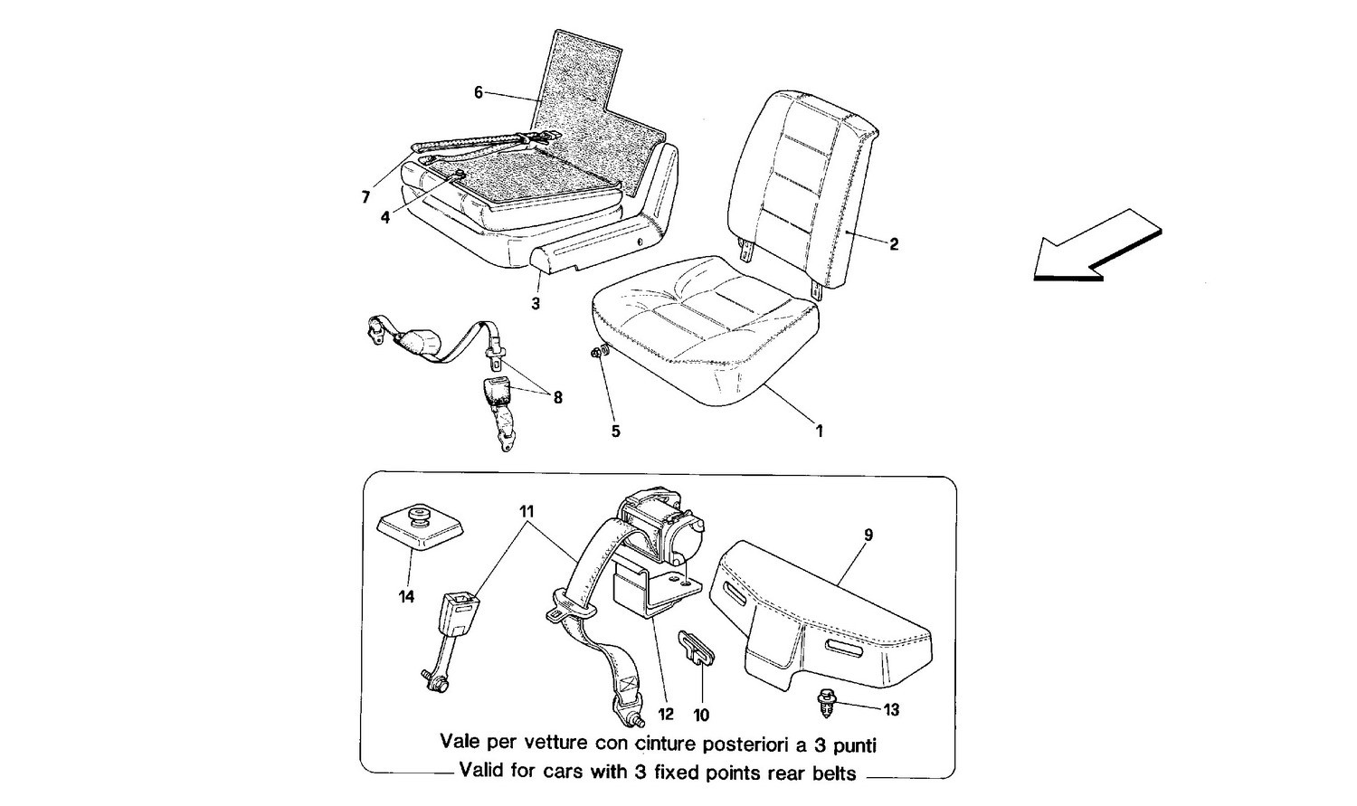 Seats and rear safety belts -Cabriolet-
