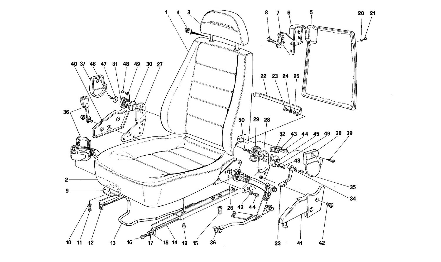 Front seats -Valid for passive belts-