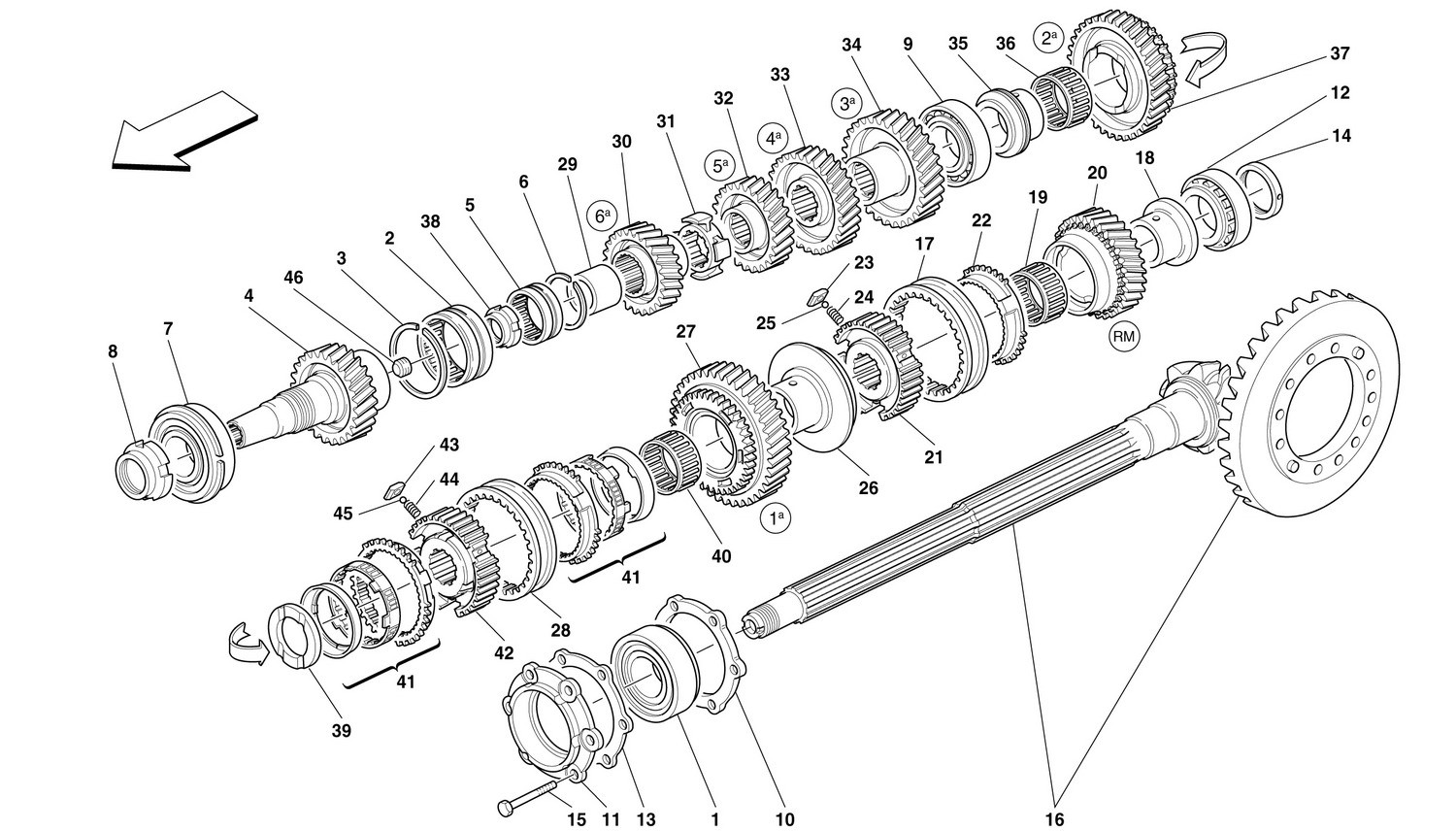 LAY SHAFT GEARS -Not for 456 GTA-
