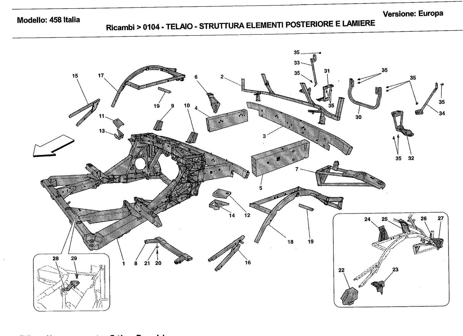 FRAME - REAR ELEMENTS STRUCTURES AND PLATES